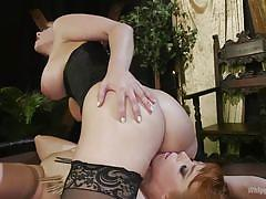 milf, facesitting, blonde, bdsm, lesbians, big tits, lezdom, pussy eating, tits torture, ball gag, rope bondage, clothes pins, whipped ass, kink, penny pax, carissa montgomery