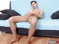 Gay twink patrik masturbates in nylon pantyhose