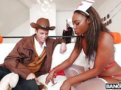 Black nurse blows on his big cock