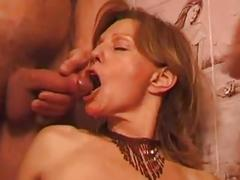 French milf in threesome - mature sex video