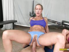 Ashley fires & brandi love fuck and cum swap