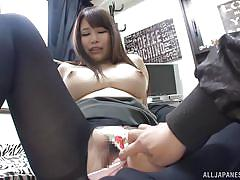 big tits, pantyhose, fingering, squeezing tits, asian babe, cutting clothes, big tits tokyo, all japanese pass, mion hatsuki