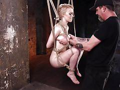 bdsm, hogtied, pussy fingering, nipple pinching, blonde babe, rope bondage, electric vibrator, suspended in the air, hogtied, kink, anna tyler, the pope