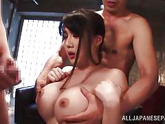 Busty japanese lady playing dirty with horny gang