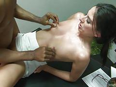 small tits, milf, interracial, glasses, blowjob, brunette, from behind, big black cock, nipples squeezing, white ghetto, fame digital, nikki daniels