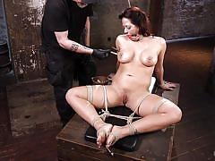 milf, bdsm, big tits, hogtied, brunette, tits torture, ball gag, clothespins, rope bondage, hogtied, kink, the pope, holly heart