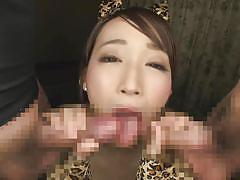 babe, japanese, japanese threesome, busty, cosplay, tit fuck, censored, double blowjob, av idol, erito av stars, erito, kurea hasumi