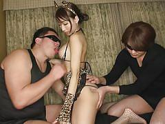 Japanese slut dressed like a cat titfucks