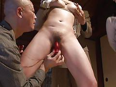 Japanese milf is bound and played with