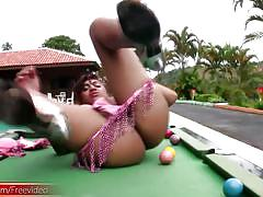 Full video of tranny inserting eight ball in tight anal hole