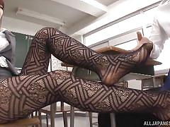 babe, pantyhose, kissing, classroom, undressing, censored, feetjob, jp teacher, jp teacher, all japanese pass, hatano yui