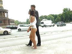 bdsm, babe, public nudity, outdoor, tied up, sex slave, public disgrace, nipple clamps, public disgrace, kink, anna quist, steve holmes, juliette march