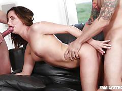threesome, babe, caught, brunette, tattooed, from behind, double blowjob, stepsiblings, family strokes, hope howell