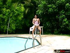 shemale, big ass, masturbation, latina, monster cock, brunette, outdoors, miniskirt, bigtits, thongs, shemale tugjobs, shemax network