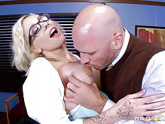 blonde, big tits, babe, glasses, dildo, tattooed, undressing, ass slapping, at school, big tits at school, brazzers, johnny sins, harlow harrison
