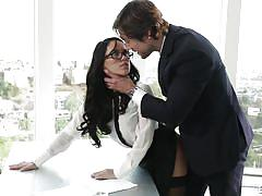 babe, glasses, rimjob, brunette, office sex, undressing, tied hands, erotica x, jean x, megan rain