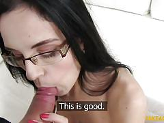 small tits, babe, interview, glasses, blowjob, brunette, filming, fake agent, fake casting, fake agent, fake hub
