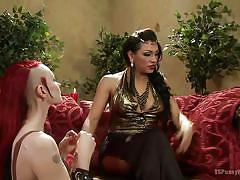 Tranny mistress controls a punk chick