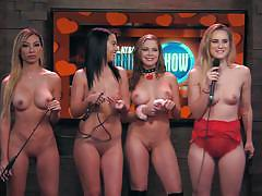 blonde, busty, talking, playboy tv, naked babes, playboy radio, playboy morning show, andrea lowell, morning show, playboy tv, andrea lowell