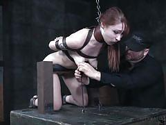 bdsm, fingering pussy, redhead babe, mouth gagged, nipple clamps, device bondage, infernal restraints, infernal restraints, violet monroe