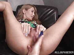 Asian slut gets fingers in her tight ass