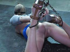bdsm, blindfolded, gagged, ropes, brunette babe, chains, nylon fetish, electric vibrator, infernal restraints, infernal restraints, sasha heart, matt williams
