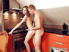 Anal teen couple in the kitchen