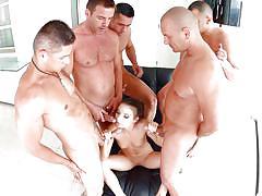 Slutty anita entertains gang of horny men