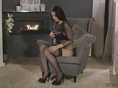 babe, solo, masturbation, busty, brunette, on chair, black stockings, dane jones, dane jones, sexy hub, celeste xxxx