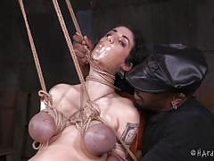 babe, ebony, tattooed, tits torture, weights, rope bondage, electric vibrator, sadistic, hard tied, duck tape mouth gag, hard tied, arabelle raphael, jack hammerx