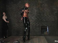 milf, bdsm, redhead, whipping, lesbian domination, breath play, ball gag, latex mask, latex fetish, wired pussy, kink, claire adams, vendetta