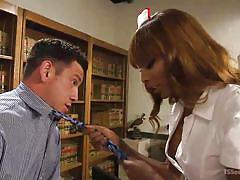 Black tranny nurse takes care of horny patient