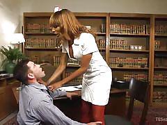 Black tranny nurse takes care of horny patient