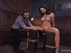 big tits, vibrator, sex slave, submission, brunette milf, ball gag, nipple clamps, nipples squeezing, rope bondage, sex and submission, kink, bill bailey, chanel preston