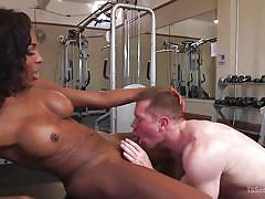 Anally fucked by a big black tranny cock