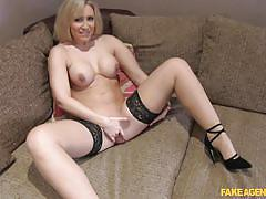 milf, blonde, big tits, high heels, fingering, fake agent, big round ass, fake casting, on the couch, fake agent uk, fake hub, karlie simon