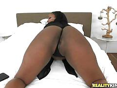 White cock between juicy ebony boobs