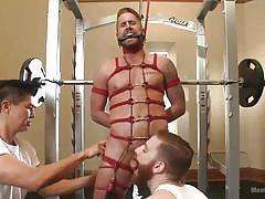 gay bdsm, gay blowjob, gay hand job, tied up, rope bondage, licking balls, tattooed, gay gagging, gay gym, men on edge, kink men, wesley woods