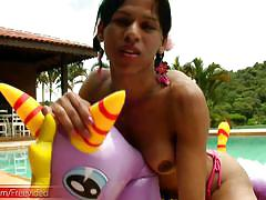 Exotic teen shemale with decent tits plays around and jerks