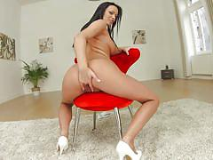 big ass, big tits, babe, high heels, solo, masturbation, brunette, on chair, glass dildo, give me pink, perfect gonzo, charlotte shark