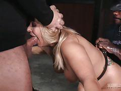 blonde, threesome, bdsm, big tits, ebony, interracial, mouth fuck, fuck from behind, device bondage, real time bondage, jack hammerx, matt williams, angel allwood