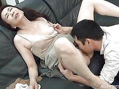 Mature slut with a hairy pussy is fingered