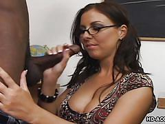 Mrs. belluci plays dirty with an ebony stud