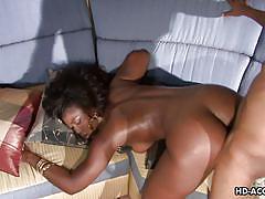 Ebony milf gets rammed hard