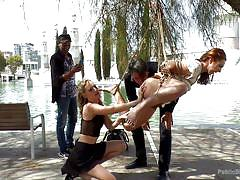 bondage, babe, redhead, outdoor, whipping, public disgrace, suspended, ropes, blonde mistress, public disgrace, kink, pamela sanchez, mona wales, steve holmes
