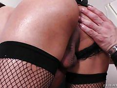 shemale big boobs, big dick tranny, anal sex, blowjob, fishnet stockings, latina, rimjob, lace panties, brunette, shemale idol, evil angel, gabriella andrade, alex victor