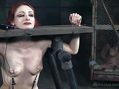 bdsm, crying, dildo riding, redhead babe, nipple clamps, device bondage, stocks, real time bondage, freya french, violet monroe