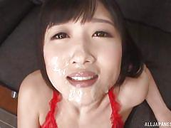 She gets cream from above and below