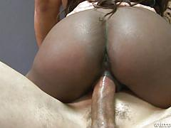 Chocolate cheerleader easily takes three of them @ black cheerleader gang bang
