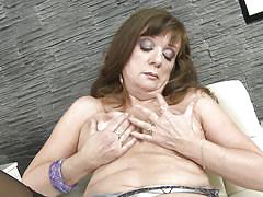 mature, solo, masturbation, stockings, big boobs, dildo, brunette, boobs groping, mature nl, yalena